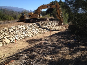 Boulders to stabilize the new elbow in the creek